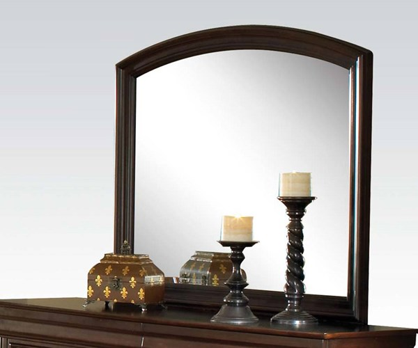 Hennessy Brown Cherry Wood Glass Arched Mirror ACM-19454
