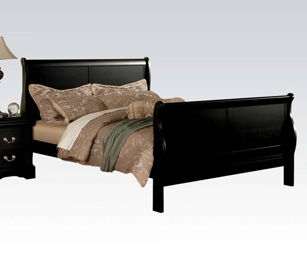 Louis Philippe III Casual Black Wood Queen Bed ACM-19500Q