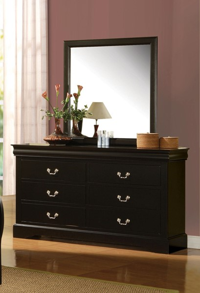 acme furniture louis philippe iii black dresser and mirror the classy home. Black Bedroom Furniture Sets. Home Design Ideas