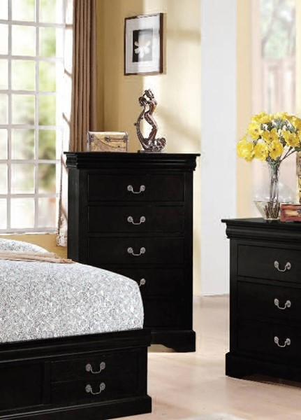 Louis Philippe III Traditional Black Wood Chest ACM-19506