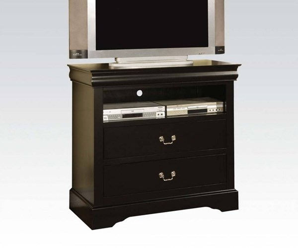 Louis Philippe III Traditional Black Wood TV Console ACM-19507