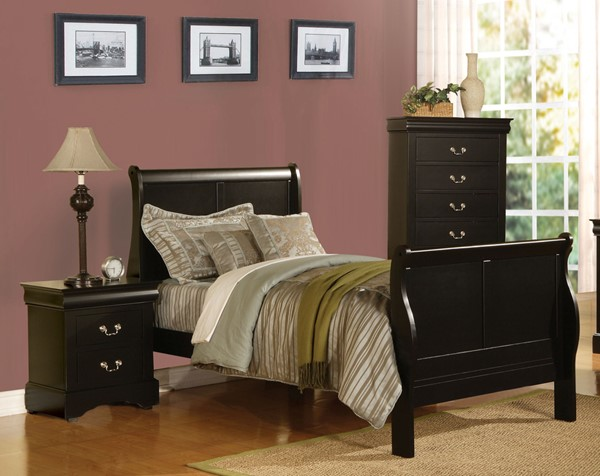 Acme Furniture Louis Philippe Iii Black 2pc Bedroom Set With Full Bed The Classy Home