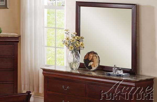 Louis Philippe III Traditional Cherry Wood Glass Mirror ACM-19524