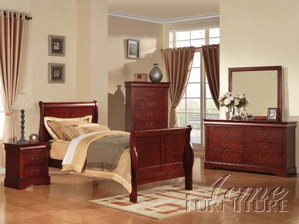 Louis Philippe III Casual Cherry Wood 2pc Bedroom Set W/Full Bed ACM-19494-BR-S4