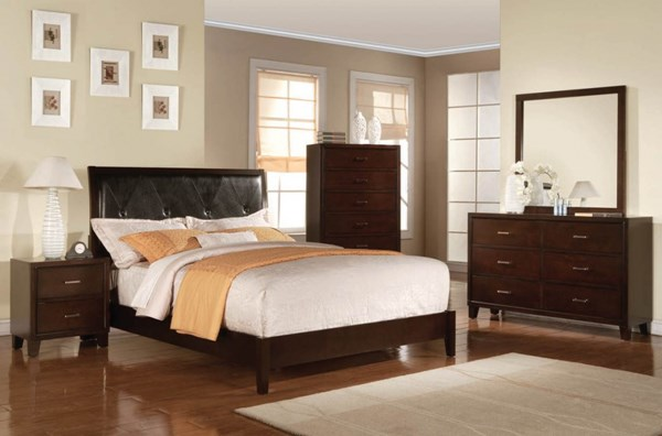 Tyler Contemporary Black Cappuccino PU Wood Master Bedroom Set ACM-19534-BD