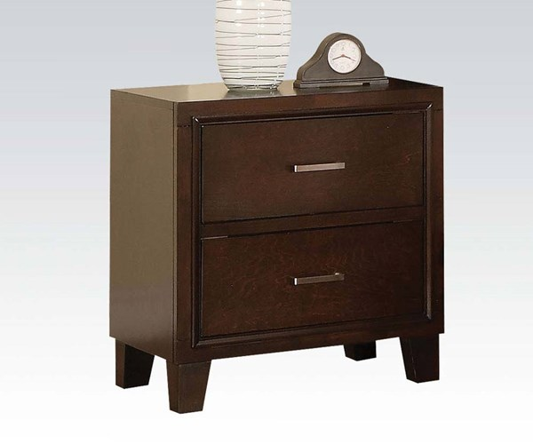 Tyler Contemporary Cappuccino Wood 2 Drawers Nightstand ACM-19543