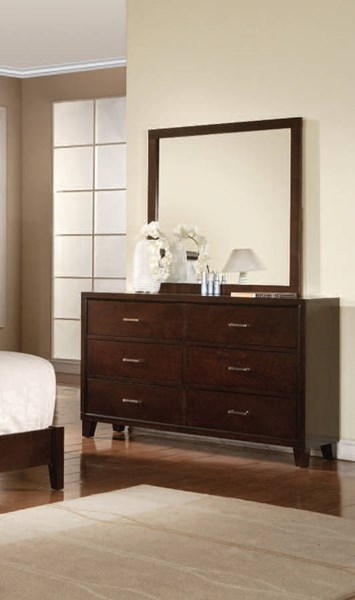 Tyler Contemporary Cappuccino Wood Glass Dresser And Mirror ACM-19544-45