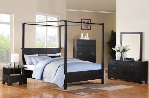 4 Piece Modus Kentfield Solid Wood Bedroom Set: London Contemporary Black Wood Queen Bed W/Canopy