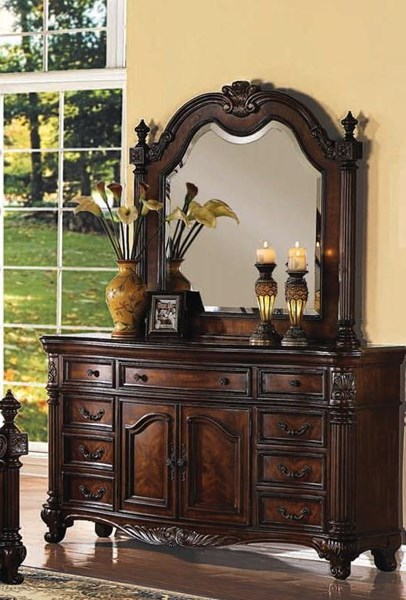 Remington Traditional Brown Cherry Wood Glass Dresser And Mirror ACM-20274-75