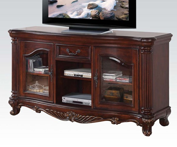 Remington Traditional Brown Cherry Wood Glass TV Stand ACM-20278