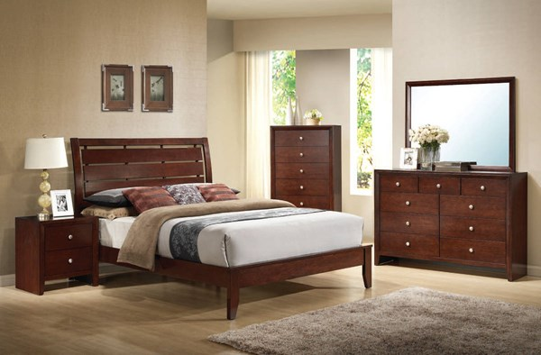 Ilana Contemporary Brown Cherry Wood 2pc Bedroom Set W/Queen Bed ACM-20397-S2