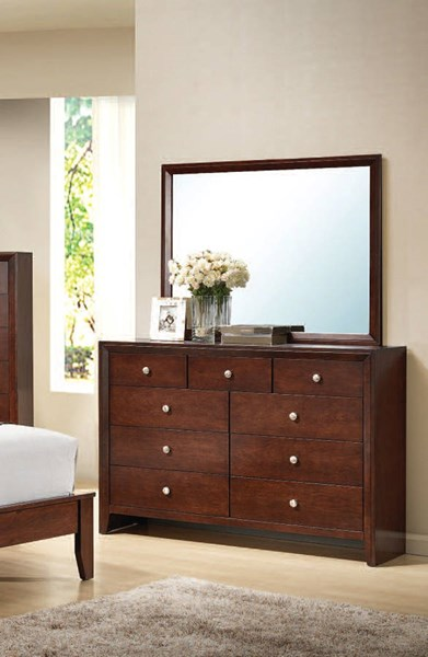 Ilana Contemporary Cherry Wood Glass Dresser And Mirror ACM-20404-05
