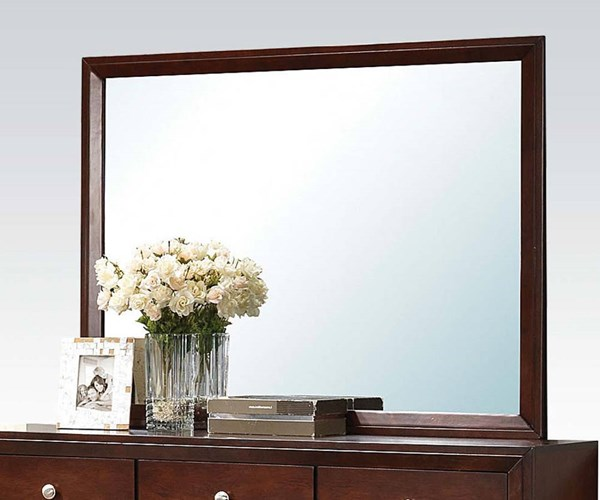 Ilana Contemporary Brown Cherry Wood Mirror ACM-20404