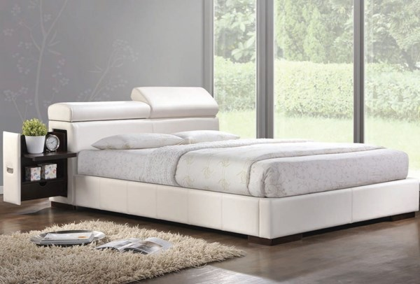 Manjot White PU Wood Beds W/Built In 2 Nightstand ACM-20414-BEDS