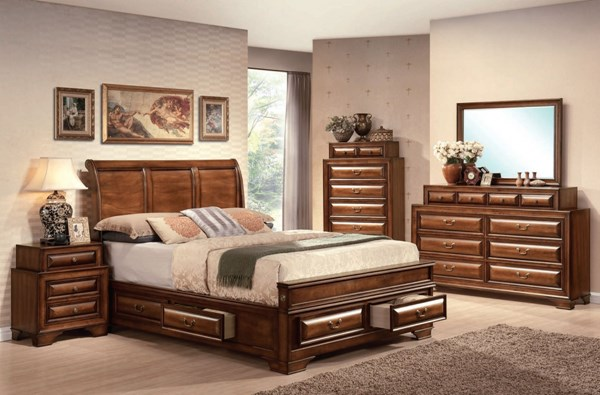 Konane Traditional Brown Cherry Wood Master Bedroom Set ACM-20434-BD