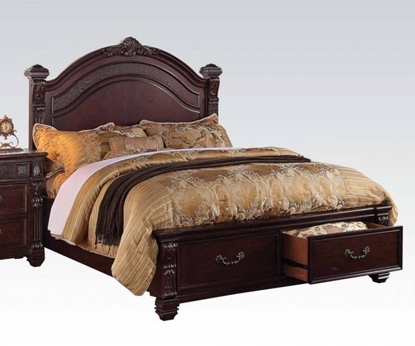 Vevila Traditional Cherry Brown Solid Wood Beds W/Storage ACM-2049-50-VAR