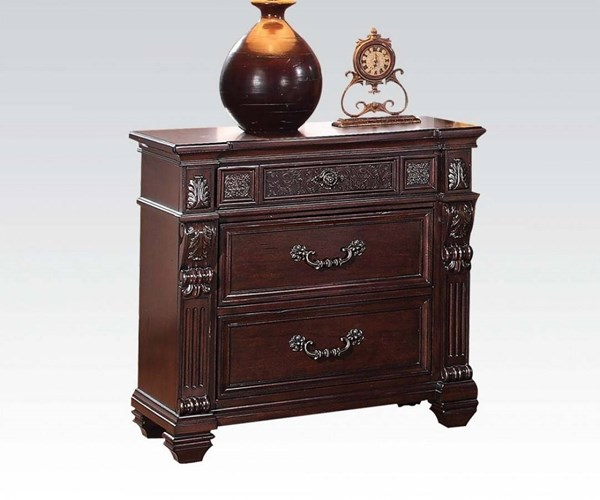 Vevila Traditional Cherry Brown Wood Nightstand ACM-20503