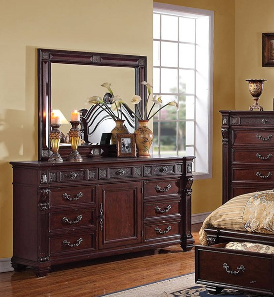 Vevila Traditional Cherry Brown Wood Glass Dresser And Mirror ACM-20504-05