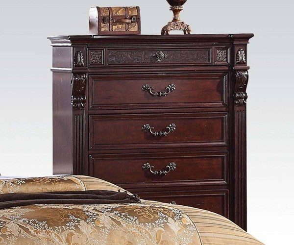 Vevila Traditional Cherry Brown Wood Chest ACM-20506