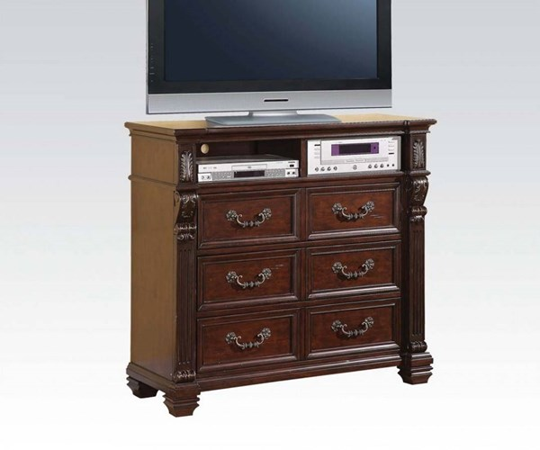 Vevila Traditional Cherry Brown Wood TV Console ACM-20507