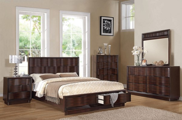 Travell Modern Walnut Wood 2pc Bedroom Set W/Queen Bed ACM-20514-S3
