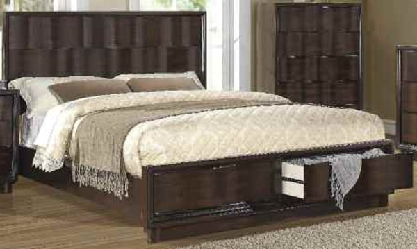 Travell Modern Walnut Wood Panel Beds W/Storage TRAVELL-205-BEDS