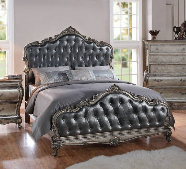Chantelle Platinum Silver Gray Fabric Wood Queen Bed ACM-20540Q