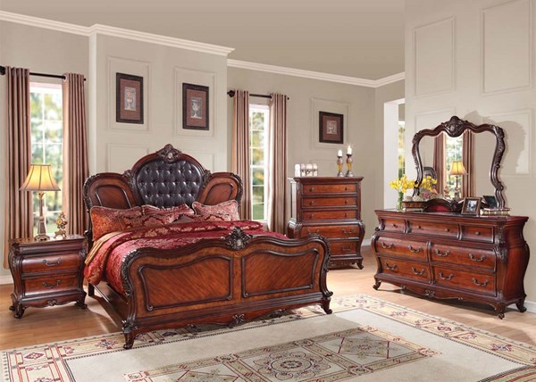 Dorothea Traditional Cherry Brown Wood 2pc Bedroom Set W/Queen Bed ACM-20590Q-S1