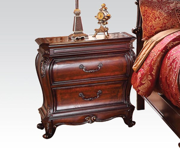 Dorothea Classic Brown Cherry Wood Nightstand w/Marble Top ACM-20593