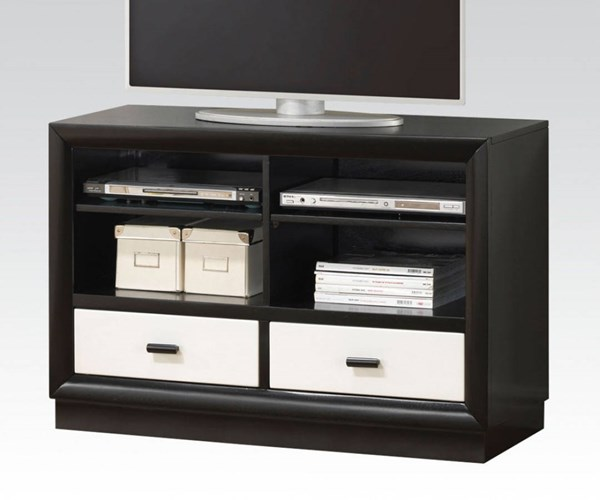 Debora Modern Black White Wood TV Console ACM-20617