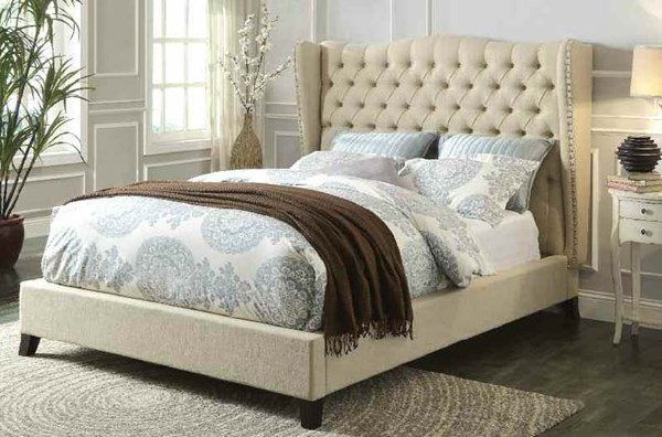 Faye Traditional Beige Espresso Fabric Foam King Bed ACM-20647EK