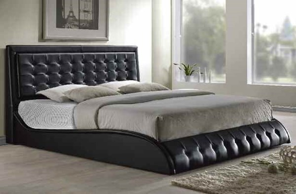 Tirrel Contemporary Black PU Foam Tufted Beds ACM-20657EK-VAR