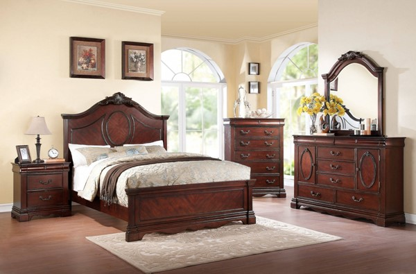 Estrella Traditional Dark Cherry Wood 2pc Bedroom Sets ACM-20730-BR-VAR