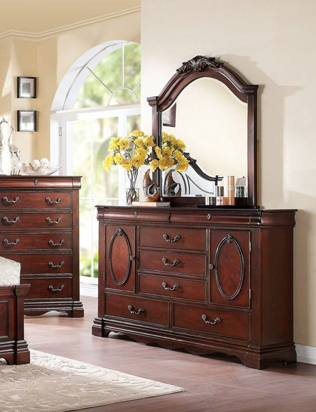 Estrella Traditional Dark Cherry Wood Glass Dresser And Mirror ACM-20734-5DM