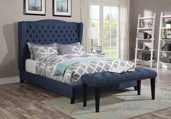 Faye Traditional Blue Red Chocolate Fabric Wood Beds ACM-208-BEDS-VAR
