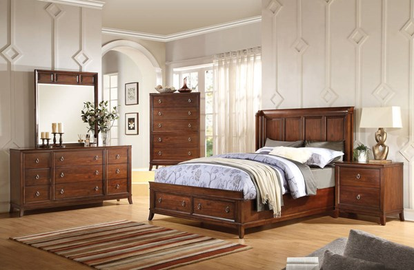 Midway Transitional Cherry Wood Master Bedroom Set ACM-209-BR