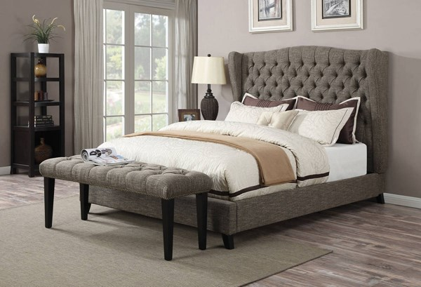 Faye Traditional Chocolate Fabric Wood Queen Bed ACM-20900Q