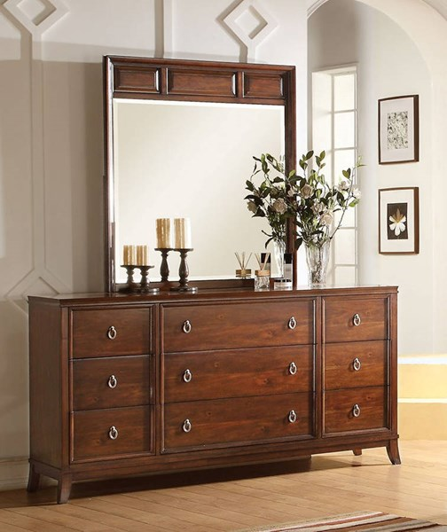 Midway Transitional Cherry Wood Glass Dresser And Beveled Mirror ACM-2098-DRMR-S1