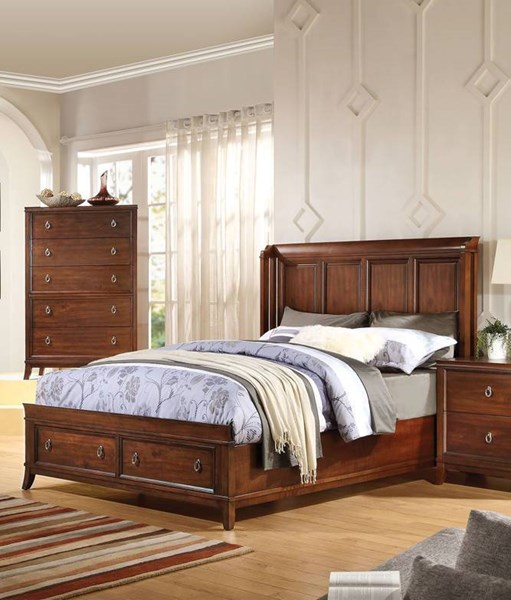 Midway Transitional Cherry Wood 2pc Bedroom Set W/Queen Storage Bed ACM-209-BR-S4