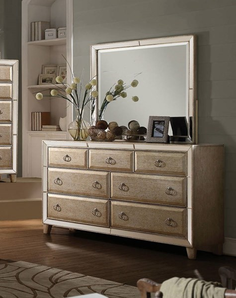 Voeville Transitional Matte Gold White Wood Glass Dresser And Mirror ACM-21004-DRMR