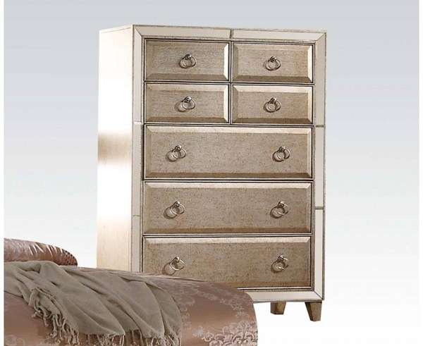 Voeville Transitional Matte Gold White Wood Glass Chest ACM-21006