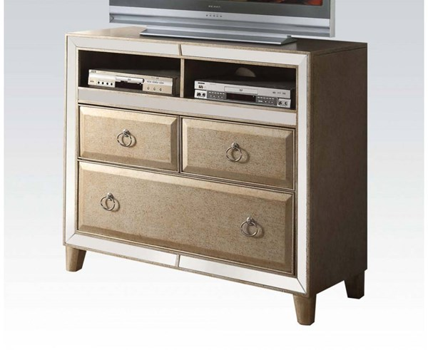 Voeville Transitional Matte Gold White Wood Glass TV Console ACM-21007