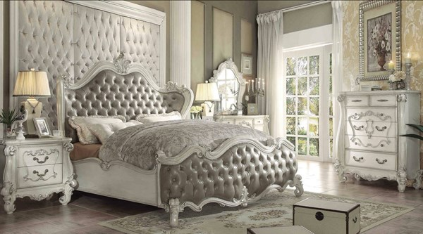 Versailles White PU Wood Button Tufted 2pc Bedroom Set W/Queen Bed ACM-21094-BR-S12