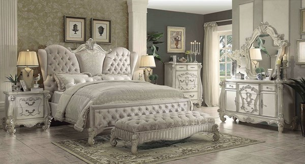 Versailles Ivory White Fabric Wood 2pc Bedroom Set W/Queen Bed ACM-21094-BR-S6