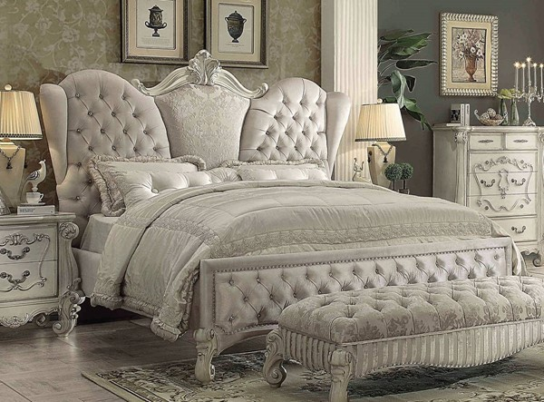 Versailles Traditional Ivory White Fabric Wood King Bed ACM-21127EK