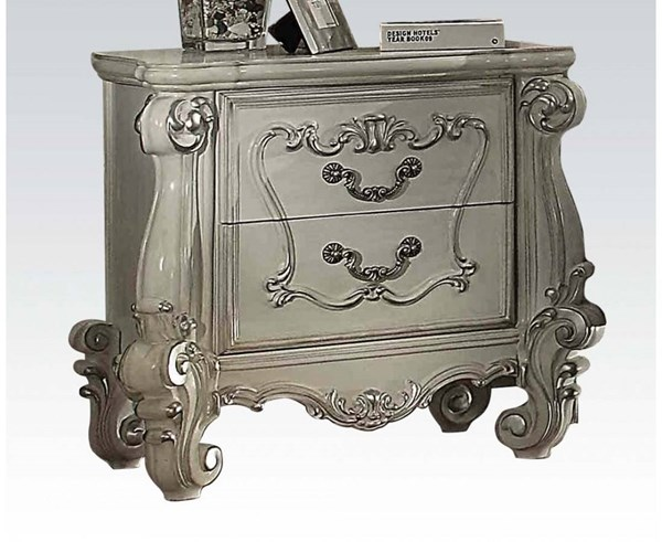 Versailles Traditional Bone White Wood Nightstand ACM-21133