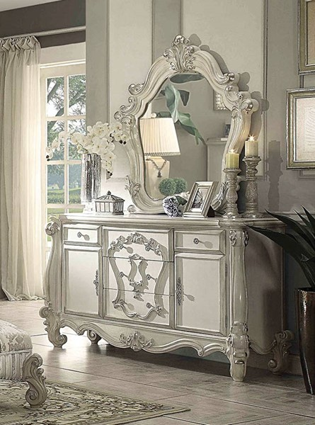 Versailles Traditional Bone White Wood Glass Dresser And Mirror ACM-21134-DRMR