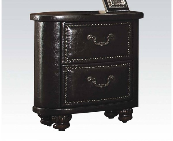 Varada Traditional Espresso Dark Cherry PU Wood Nightstand ACM-21223