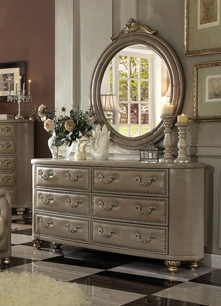 Varada Traditional Champagne Gold PU Wood Dresser ACM-21245