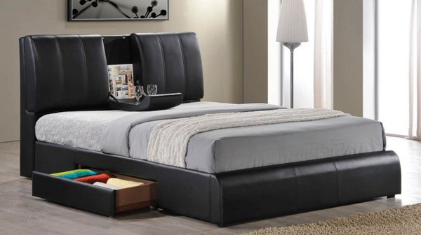 Kofi Contemporary Black PU Wood Storage Beds ACM-21262CK-VAR